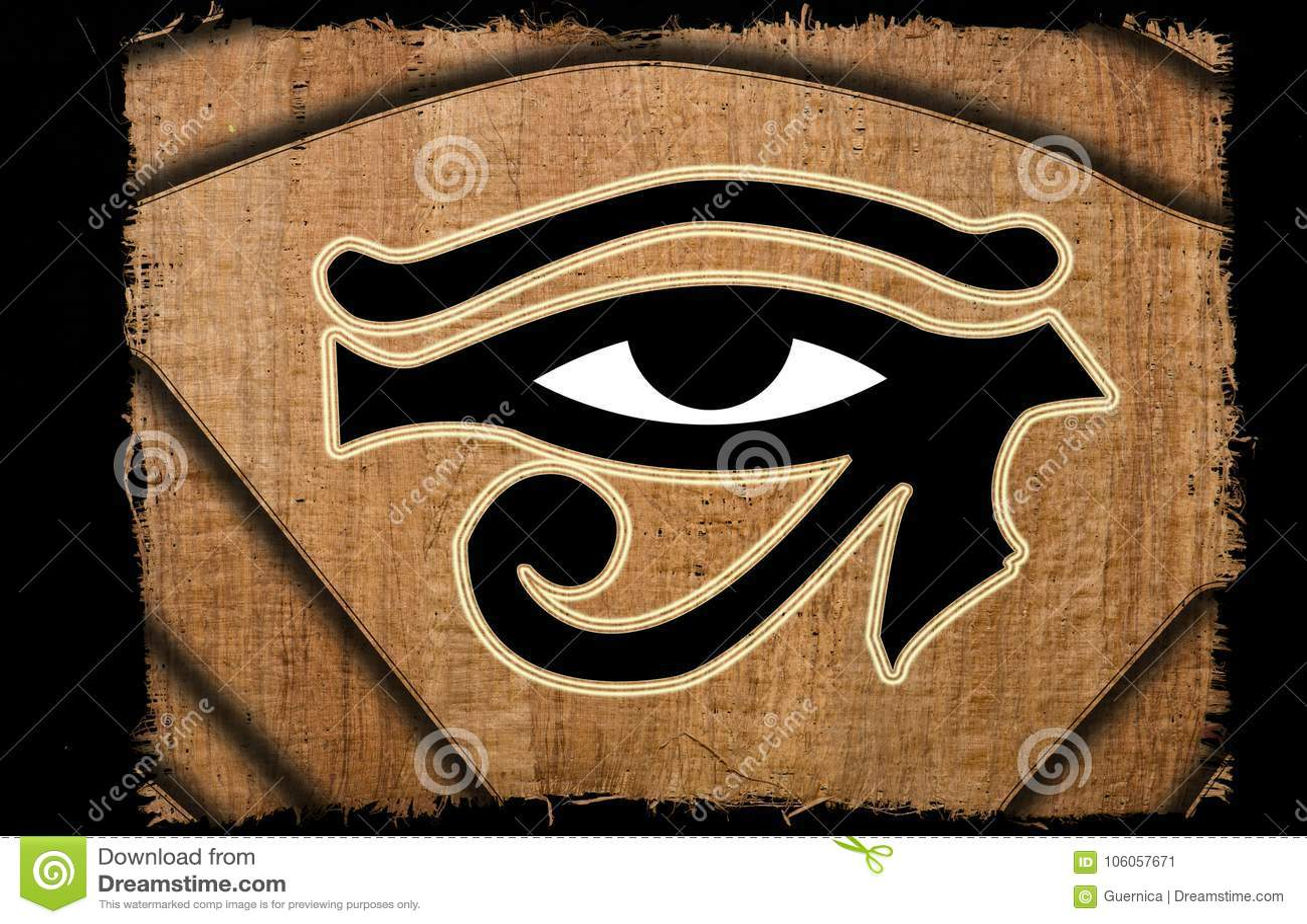 Ojo hermoso del vintage del horus en el papiro