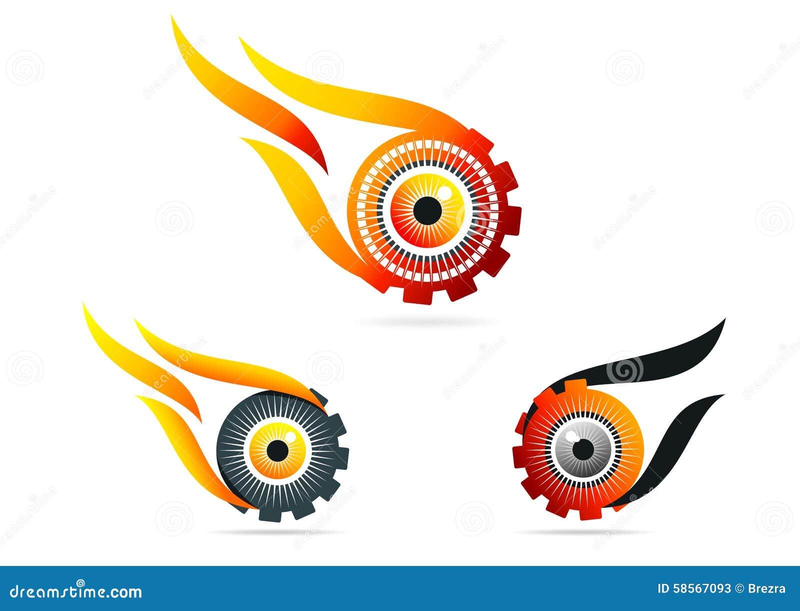 Ojo, llama, engranaje, logotipo, tecnología, visión, rueda, cuidado, símbolo, icono, diseño, sistema