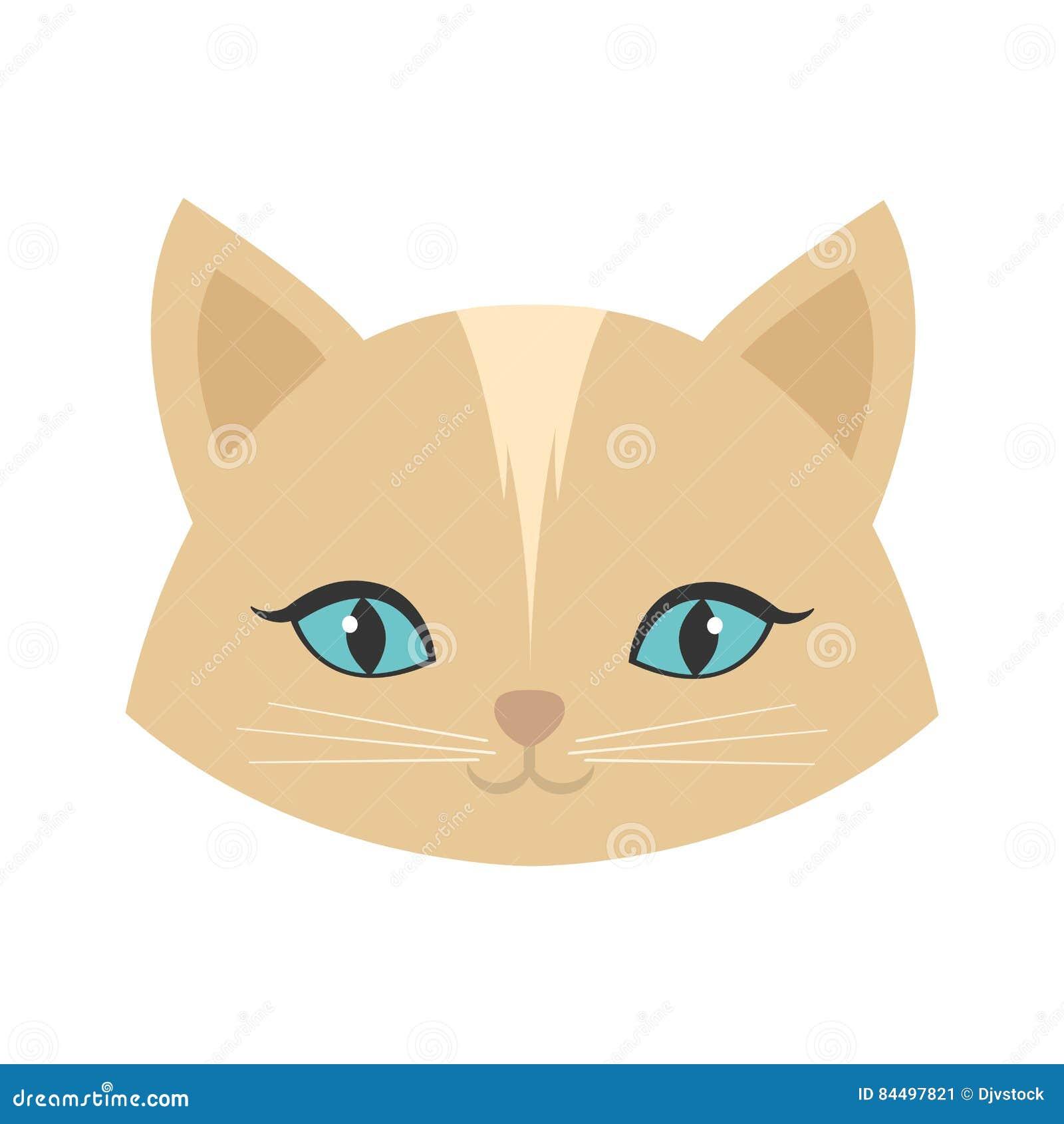 Ojos azules femeninos del gato de la cara de la belleza