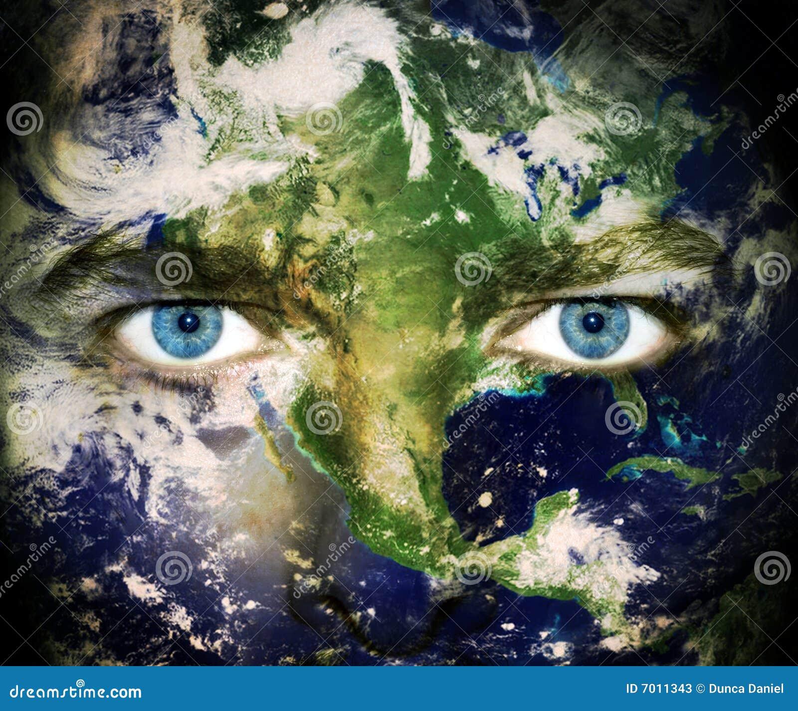 Ojos de la tierra del planeta