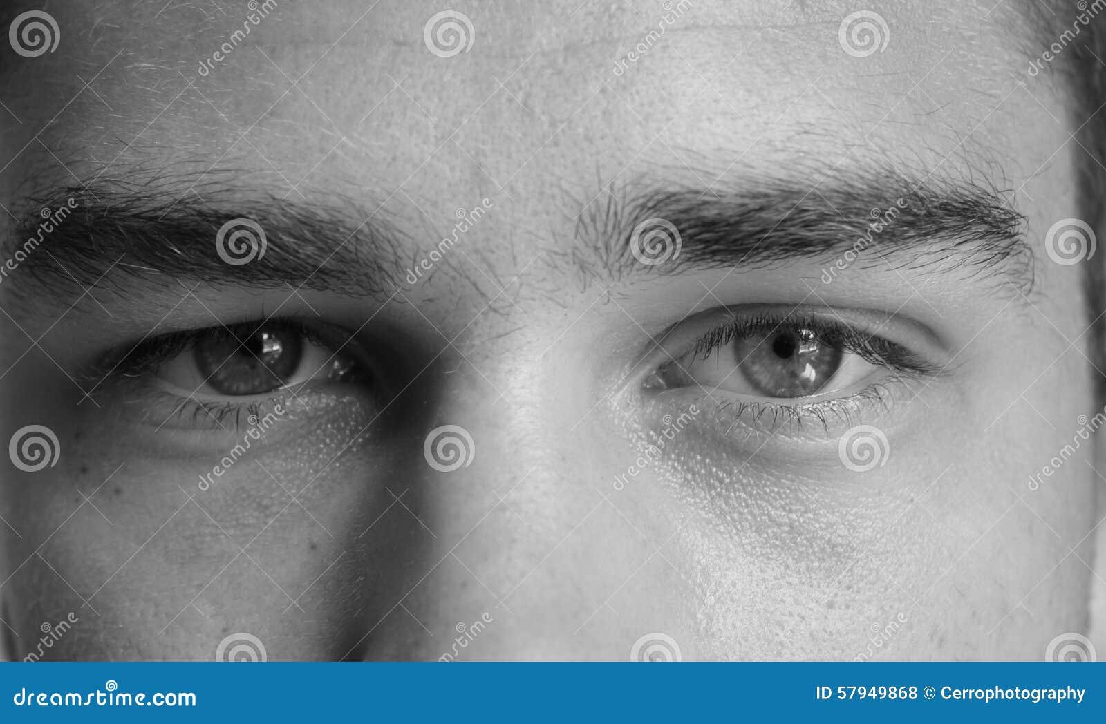 Ojos De Un Hombre Blanco Y Negro Foto De Archivo Imagen De