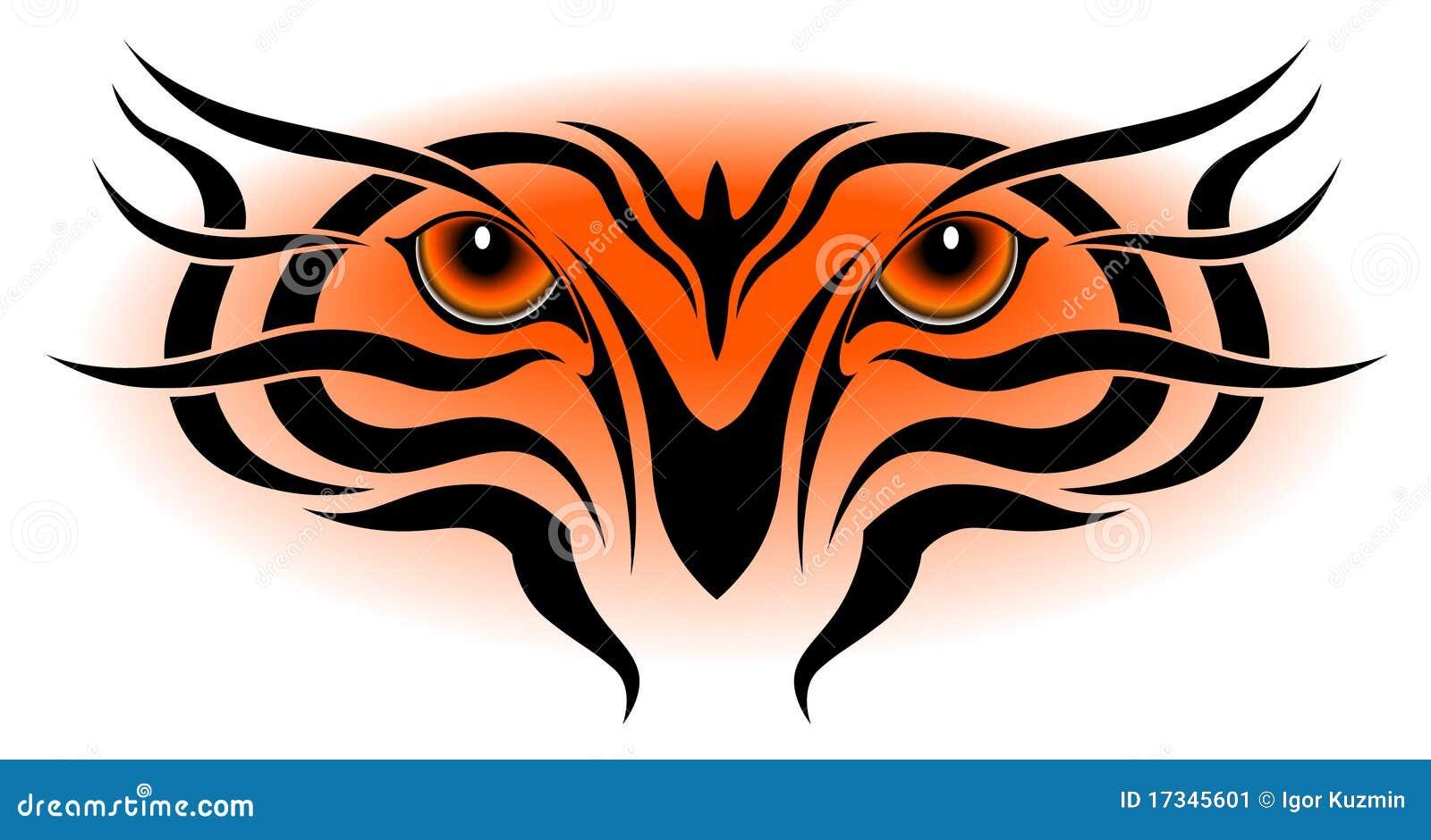Ojos Del Tigre Tatuaje Tribal Ilustración Del Vector Ilustración