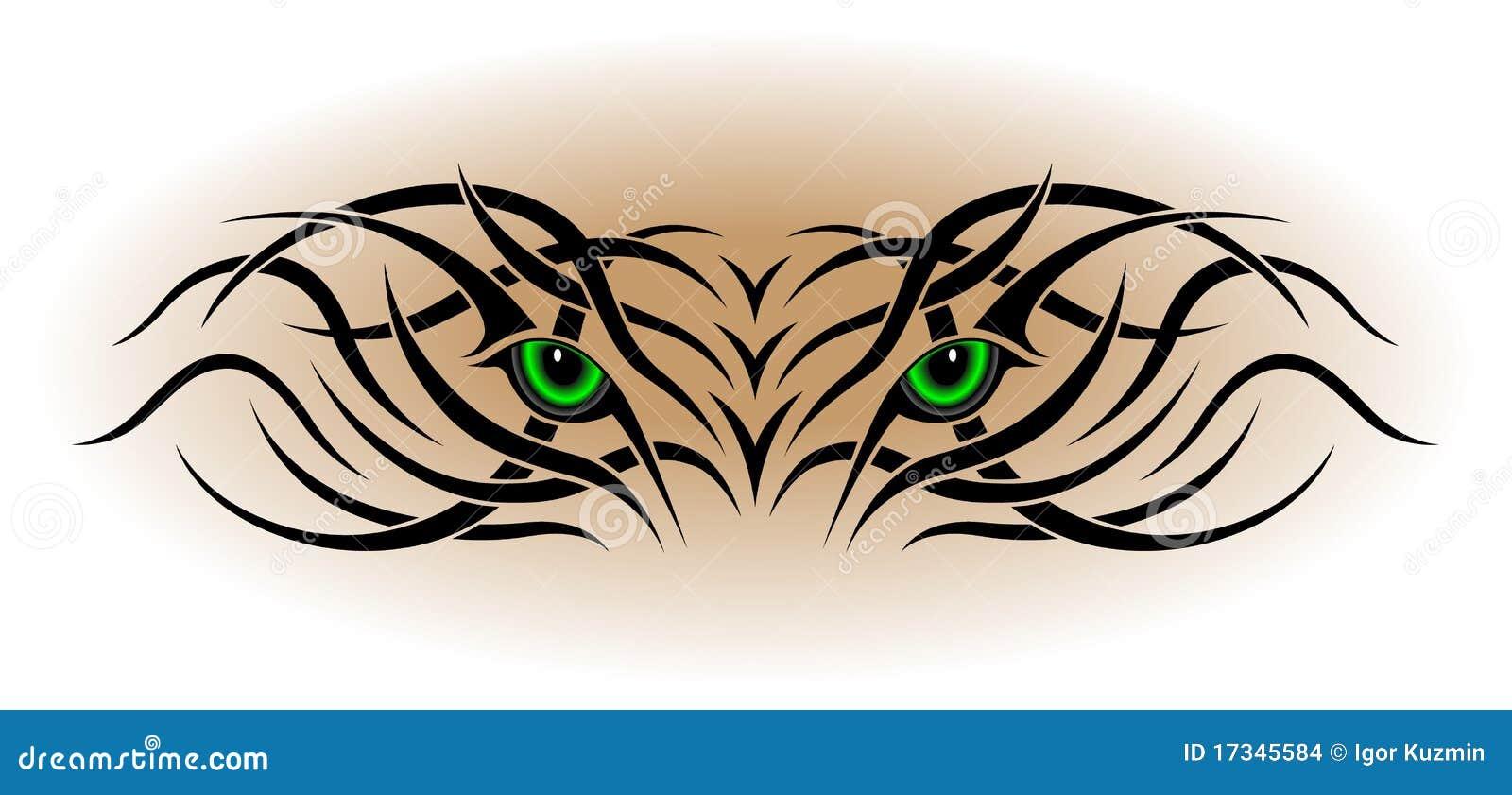 Ojos Tatuaje Tribal Ilustración Del Vector Ilustración De Puma