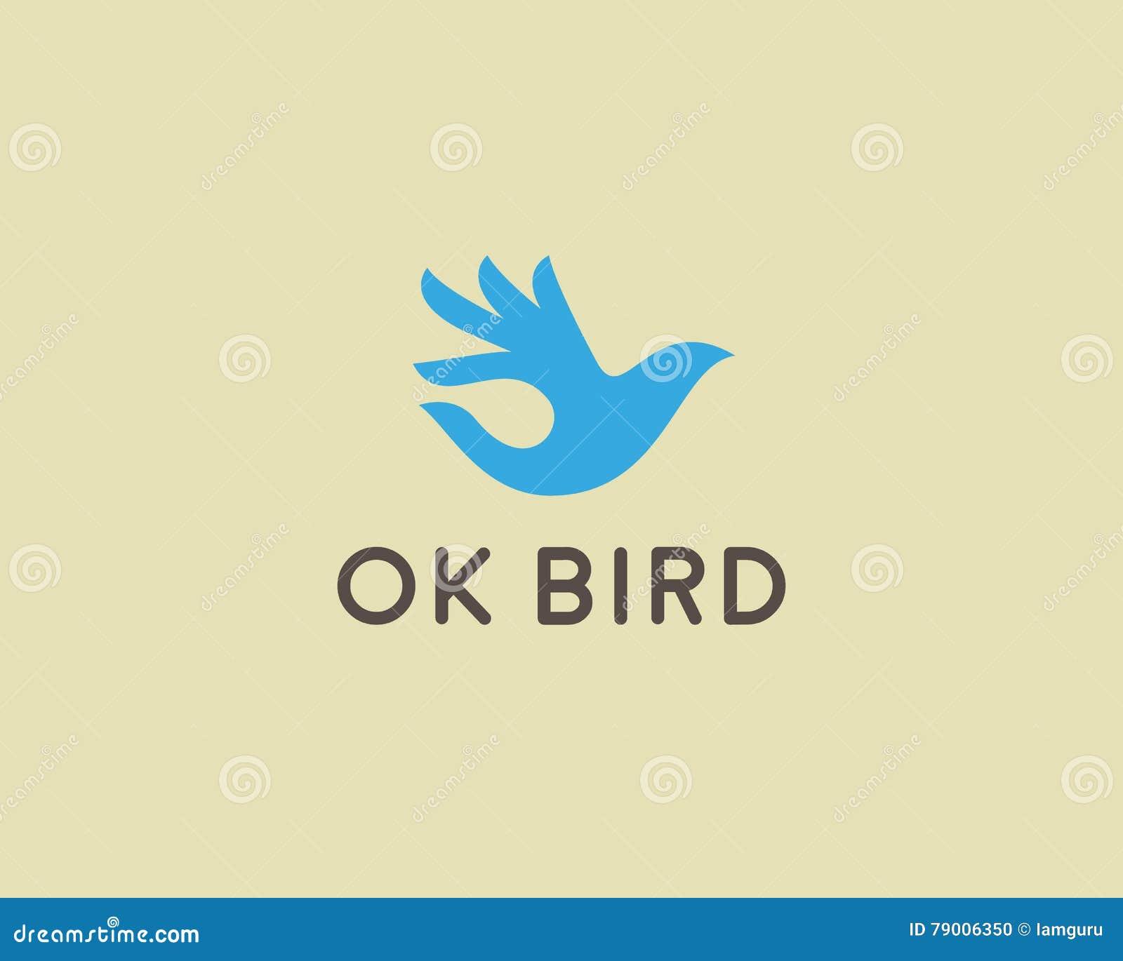 Ok bird vector logo design. Hand wings logotype. Fingers dove okay trick negative space idea symbol.