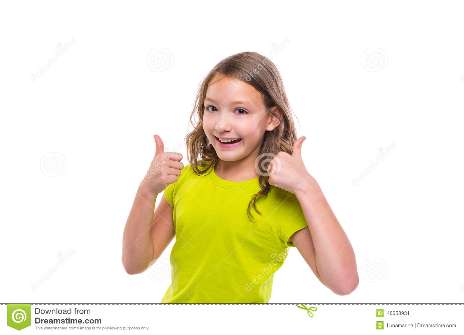 Ok gesture thumb up gunny happy kid girl on white
