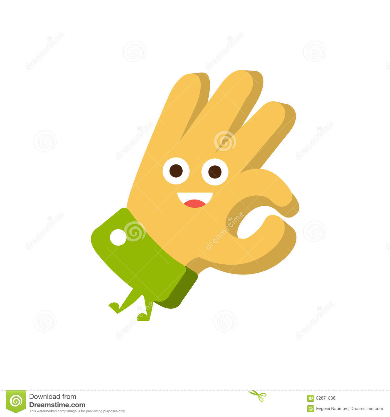 Ok Gesture Word And Corresponding Illustration Cartoon Character