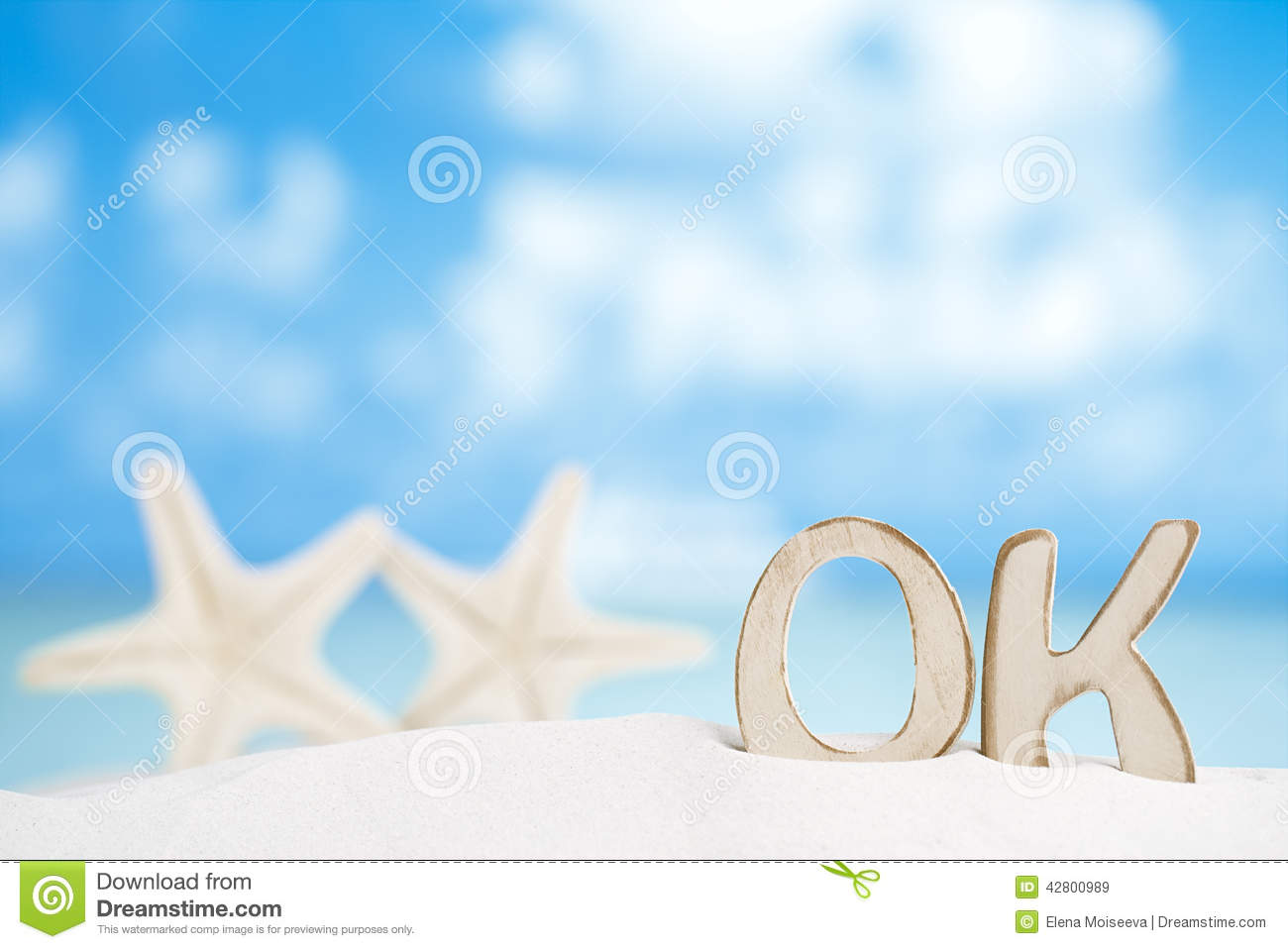 OK Message With Two Starfish On Florida White Sand Beach Stock Image