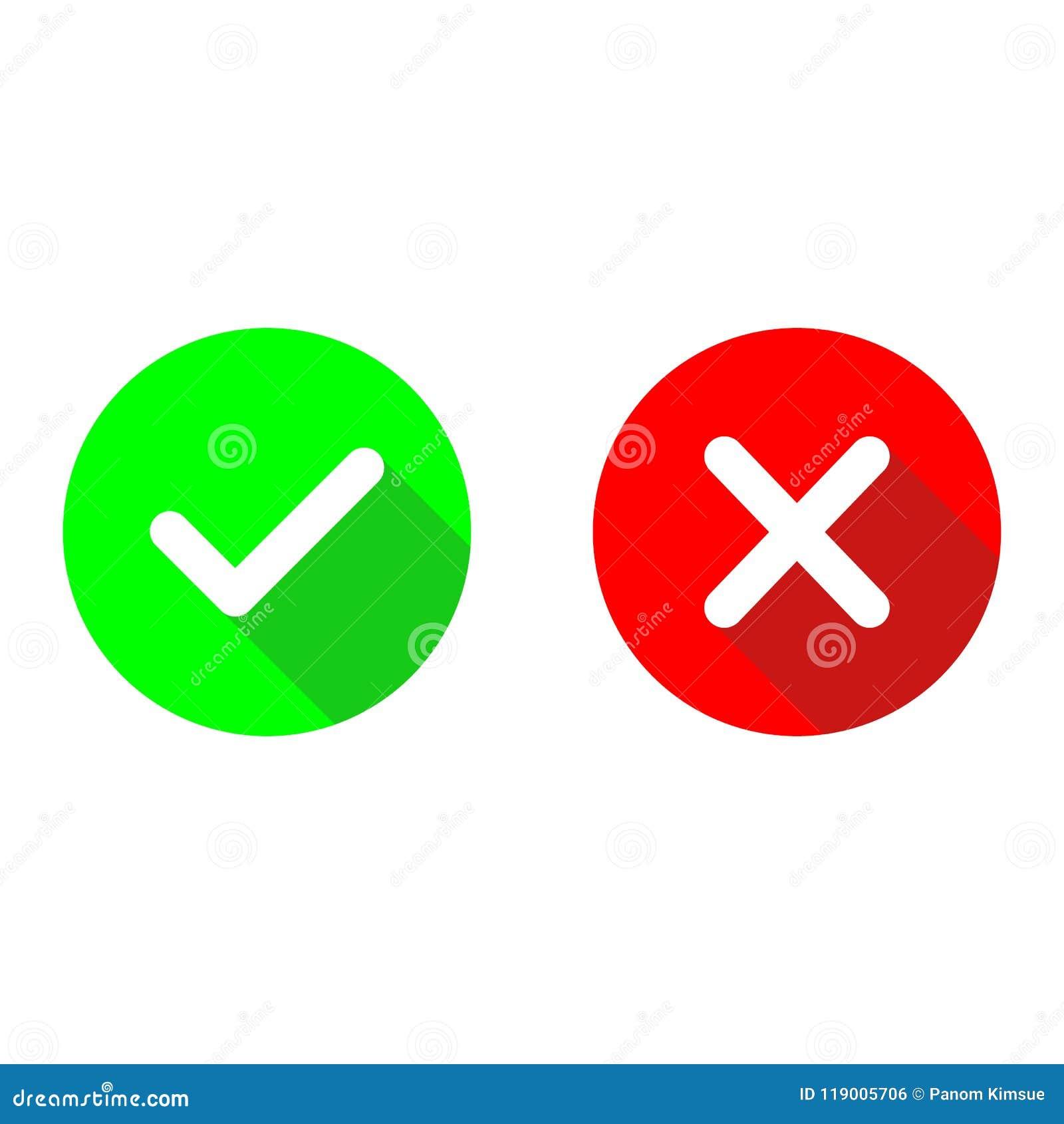 Ok och röda för x-lägenhetvektor symboler för grön checkmark Cirkelsymboler ja och ingen knapp för röstar Ticka och korsa tecken