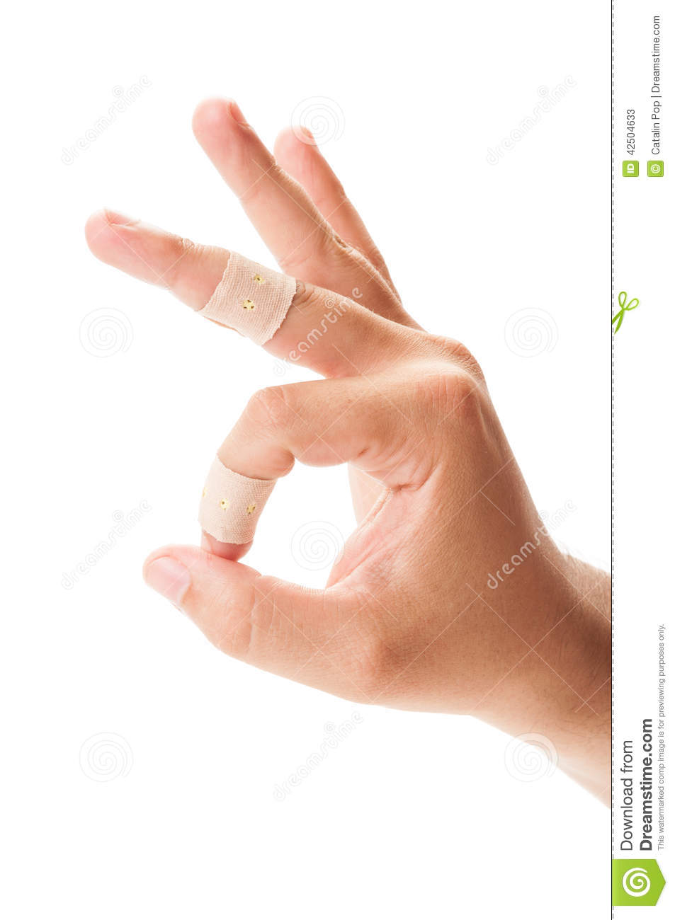Ok or perfect sign using hand with patches on fingers