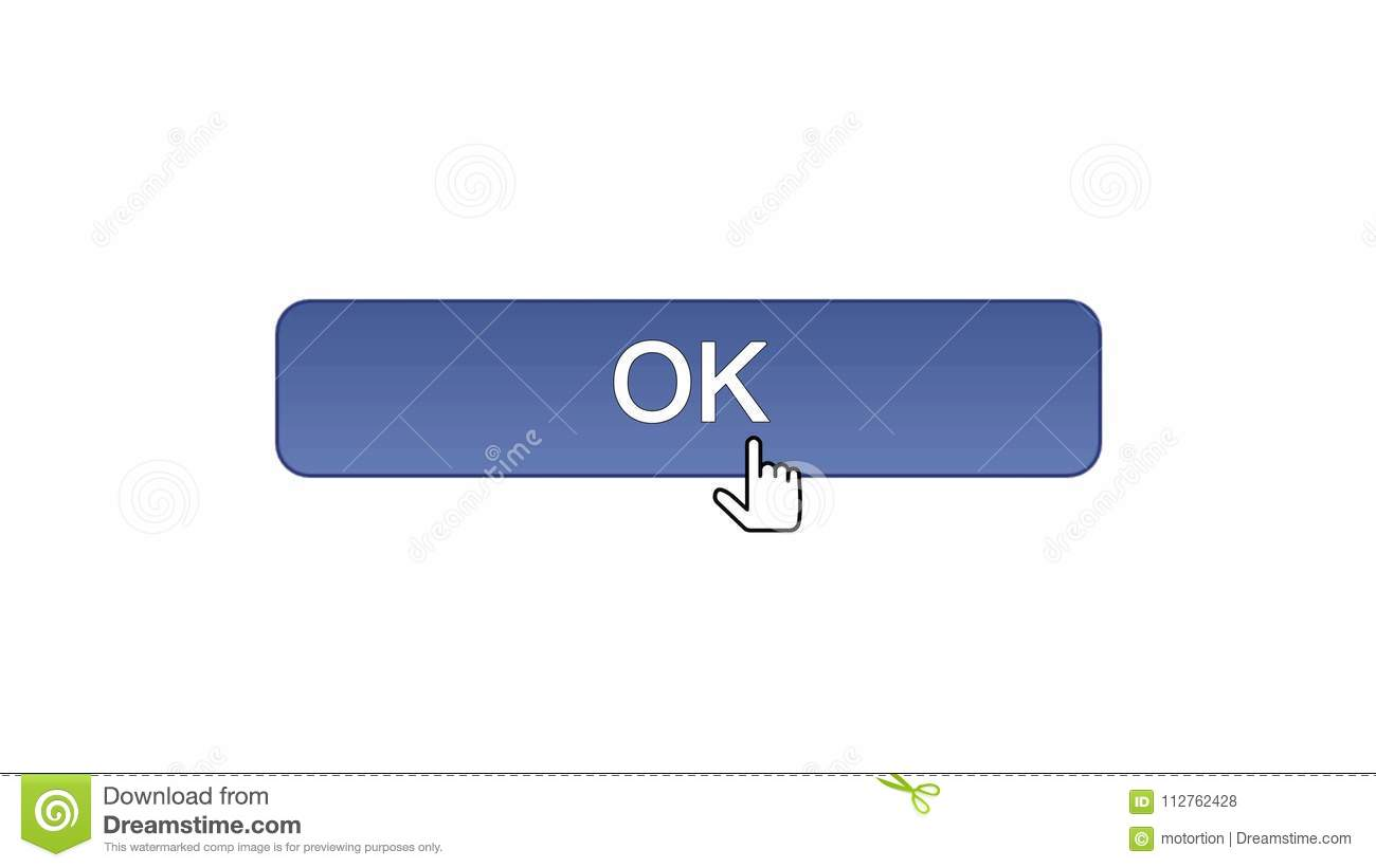 Ok Web Interface Button Clicked With Mouse Cursor, Violet