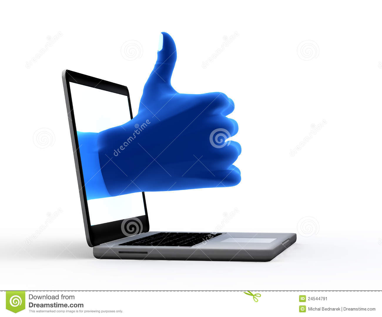Okay sign. Blue hand from screen