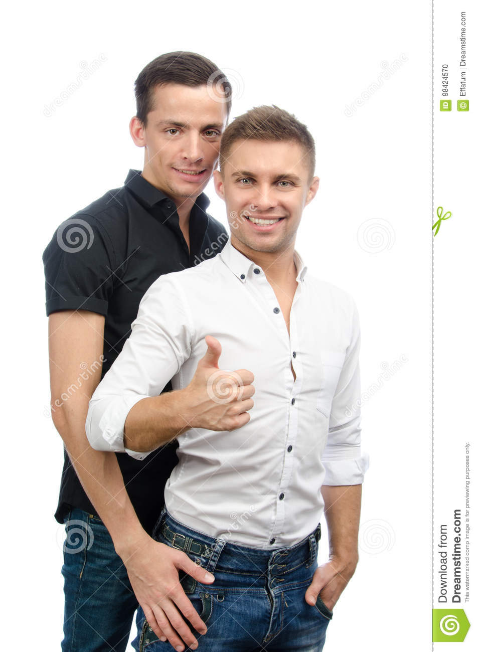 Gay Sexy Download inside okay. two guys. love and relationships. white background. stock