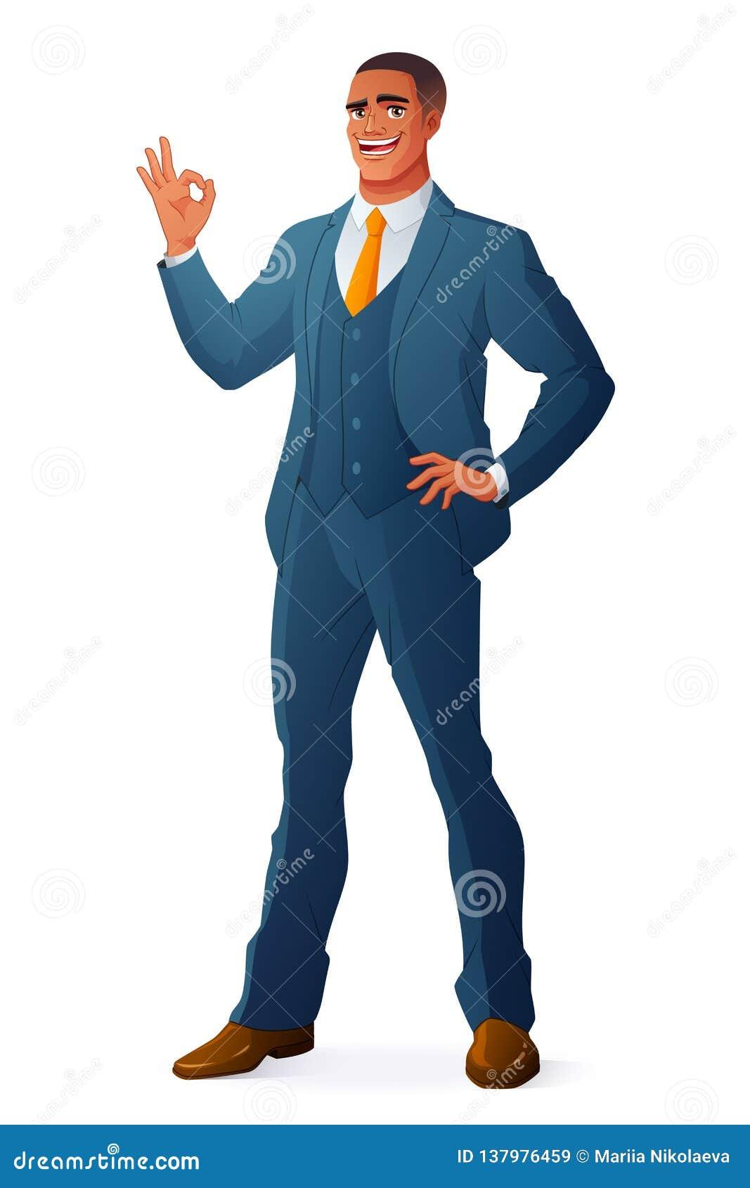 OKAY Zeichen der afrikanischen schwarzen Geschäftsmannvertretung Hand Getrennte vektorabbildung