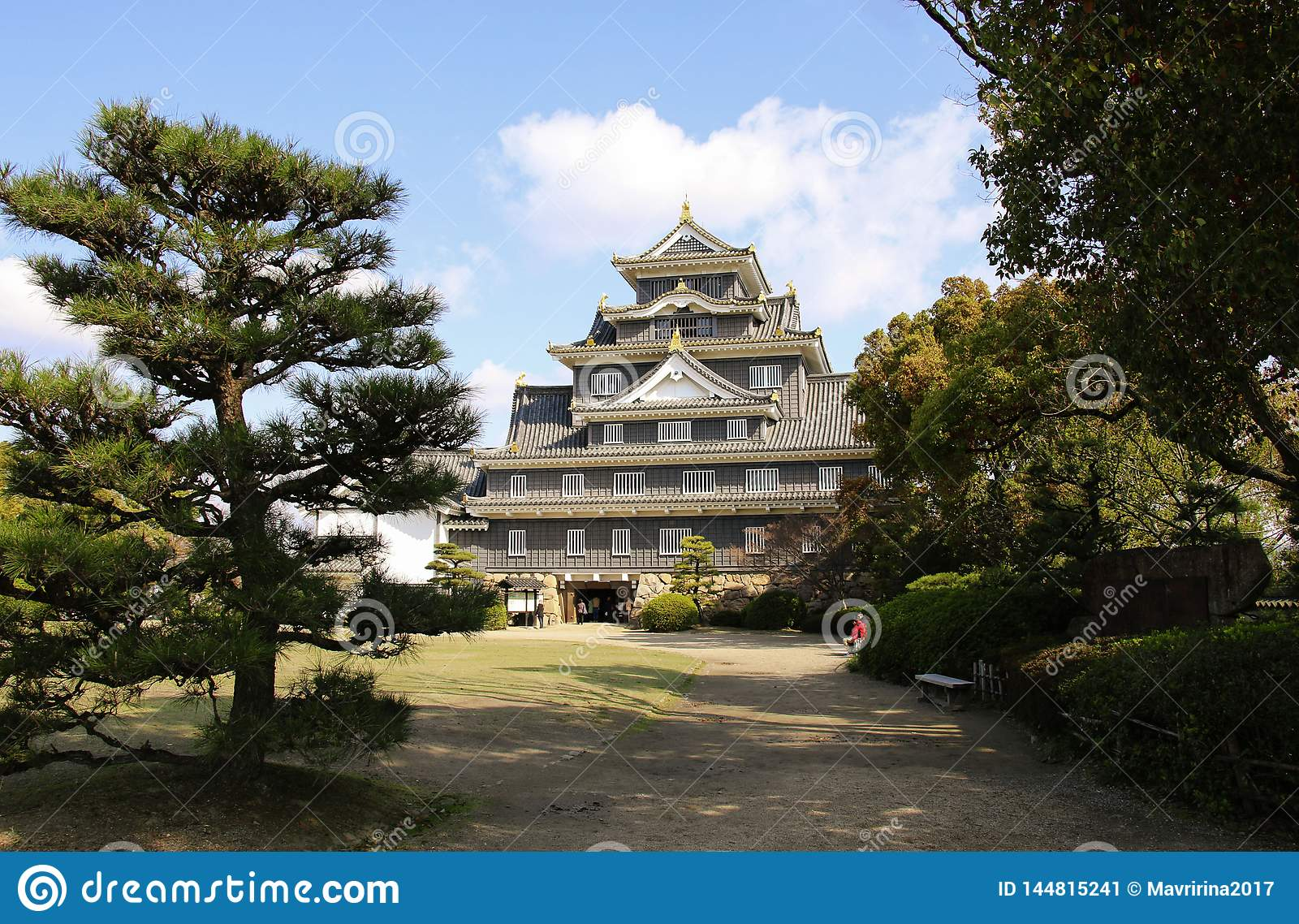 Okayama castle known as `crow castle` due to its black exterior is a Japanese castle in the city of Okayama, Japan