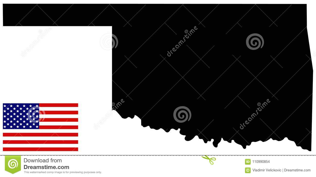 Oklahoma Map In Usa.Oklahoma Map With Usa Flag State In The South Central Region Of