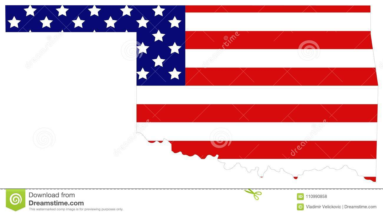 Oklahoma On Map Of United States.Oklahoma Map With Usa Flag State In The South Central Region Of
