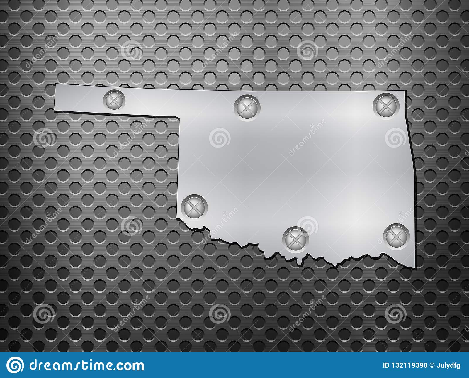 Oklahoma Metal Map Stock Vector Illustration Of Sheet 132119390