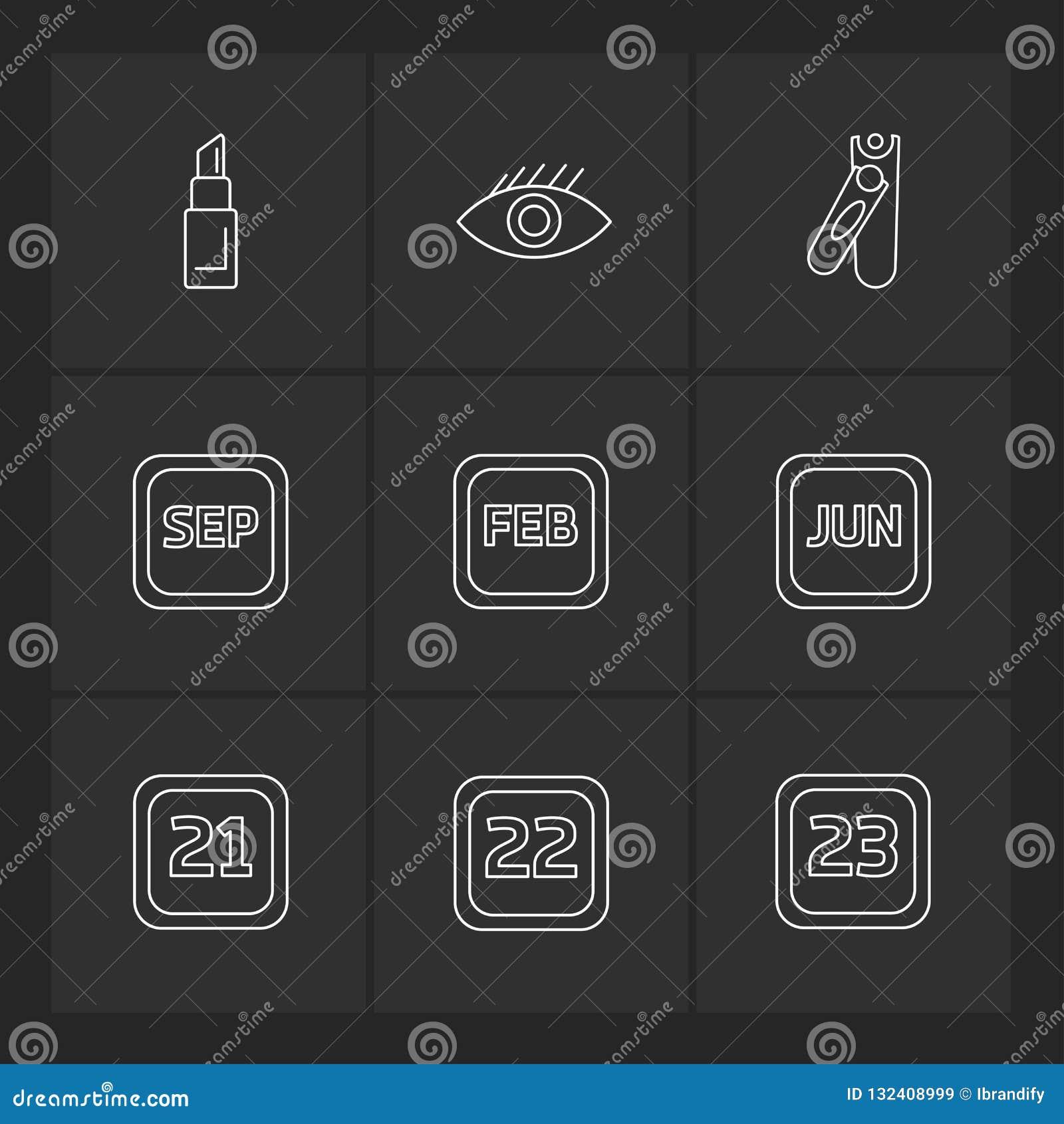 Oko, pomadka, nailcutter, kalendarz, miesiące, kosmetyki, hou