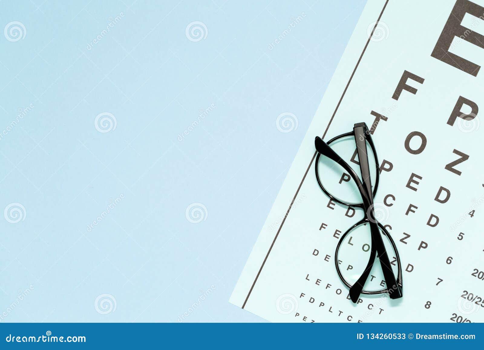 Oko test, oko egzamin Szkła z przejrzystymi okulistycznymi obiektywami na oko próbnej mapie