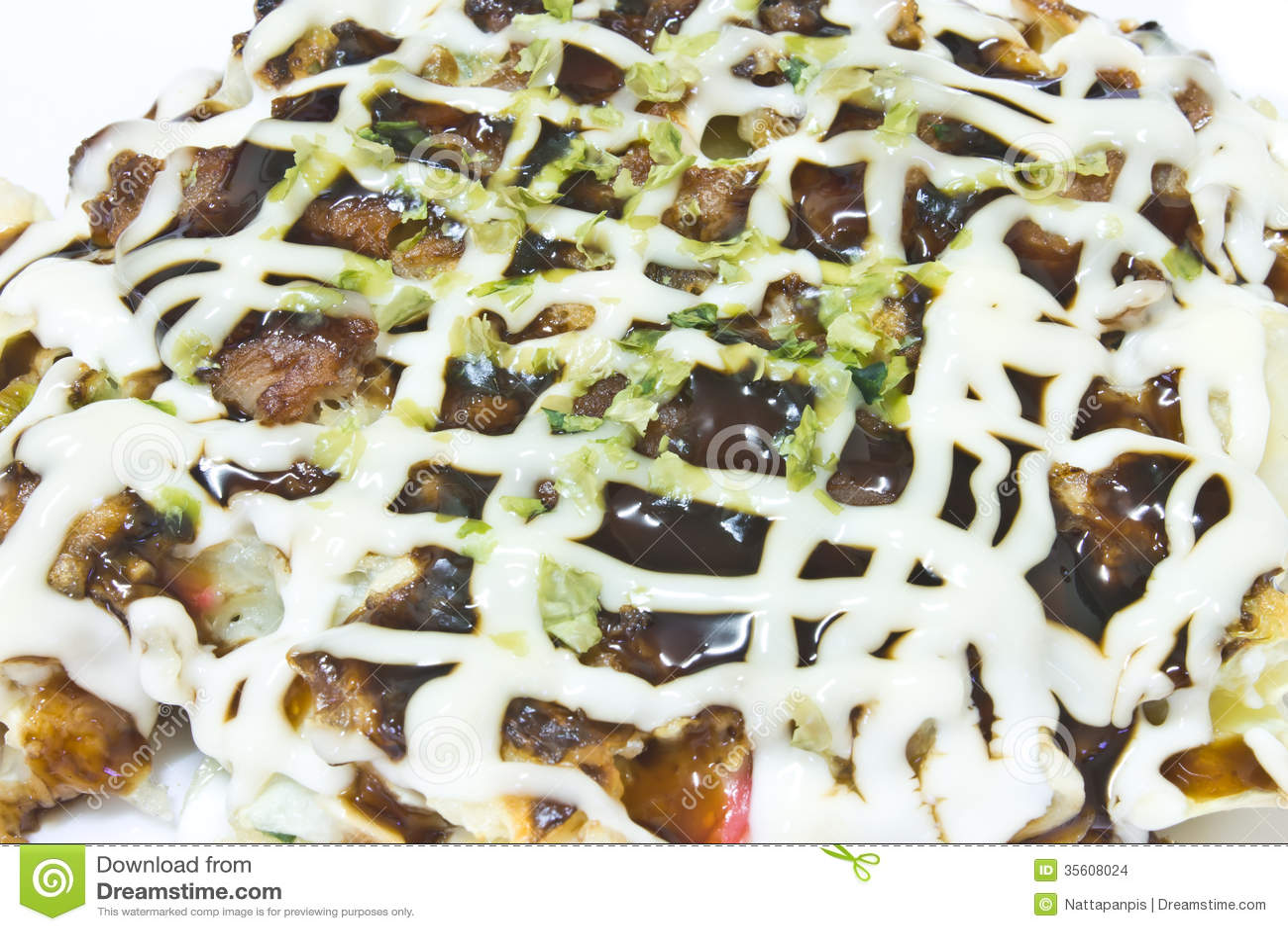 Okonomiyaki, japanese pizza, japanese food.