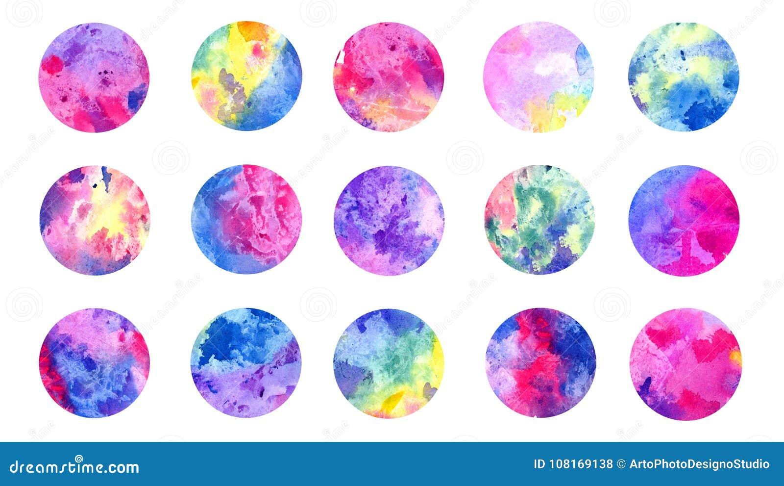 Okrąża abstrakcjonistyczną grunge akwarelę kolorową wszystkie tęcza kolorów paleta, odosobniony set