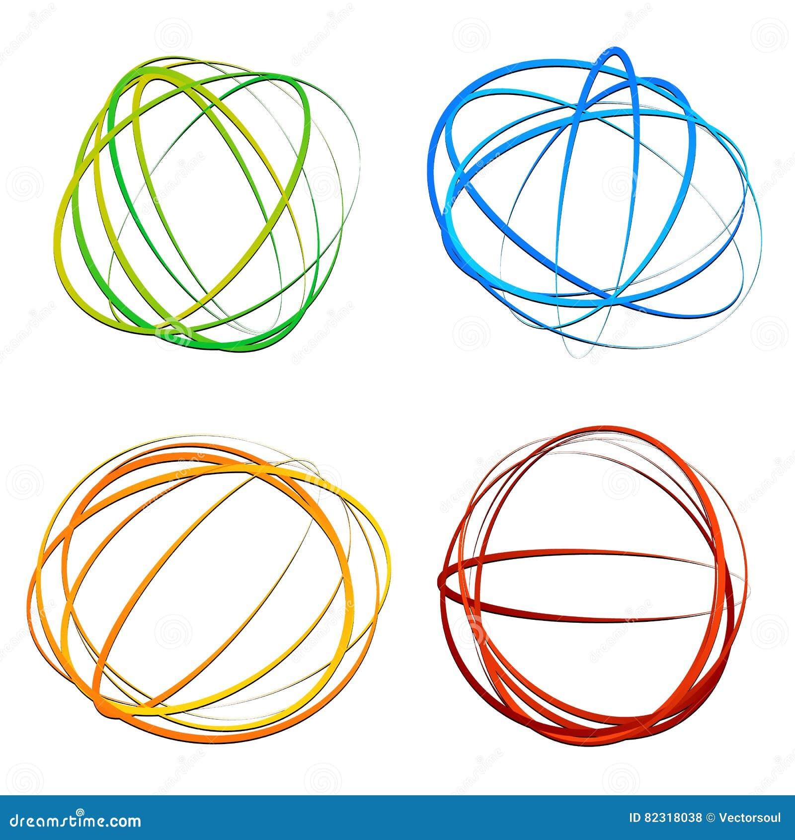 Okrąża projekta element z przypadkowym owalem, elipsa kształty