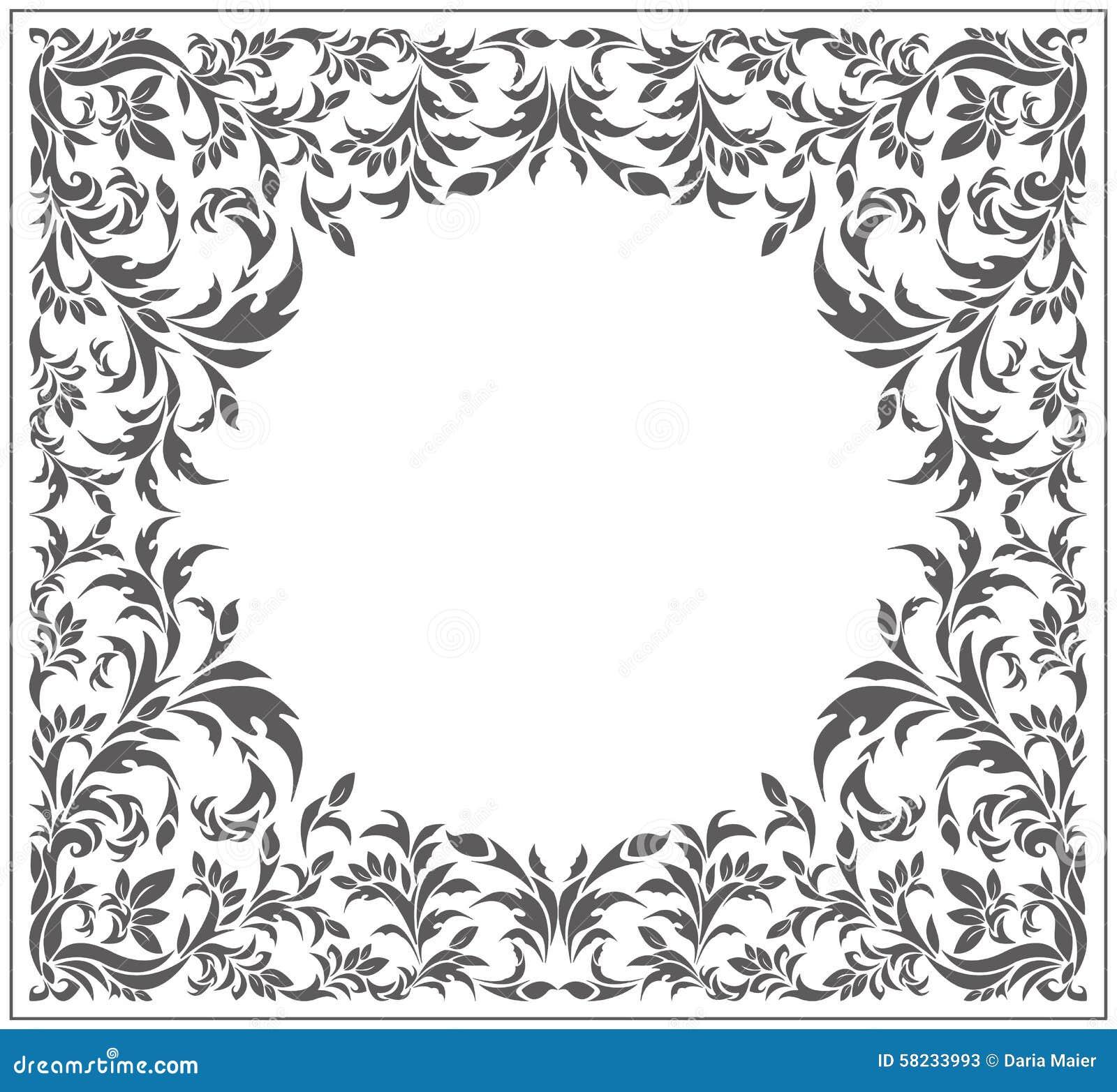 Okrąg rama z rocznikiem, kwiecisty ornament