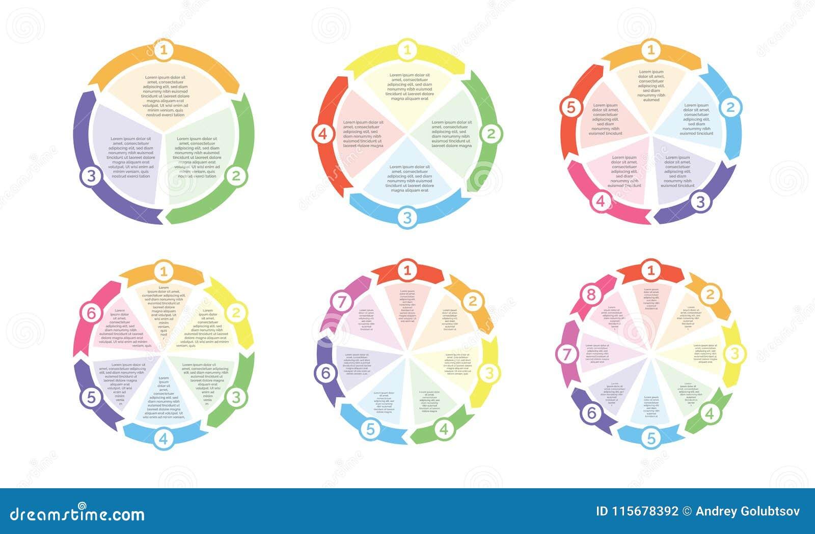 Okręgu flowchart diagram cykl mapy strzała wektoru liczby dla prezentaci
