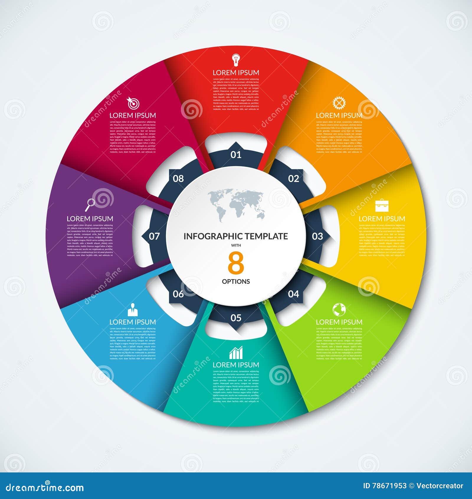 Okręgu infographic szablon Wektorowy układ z 8 opcjami