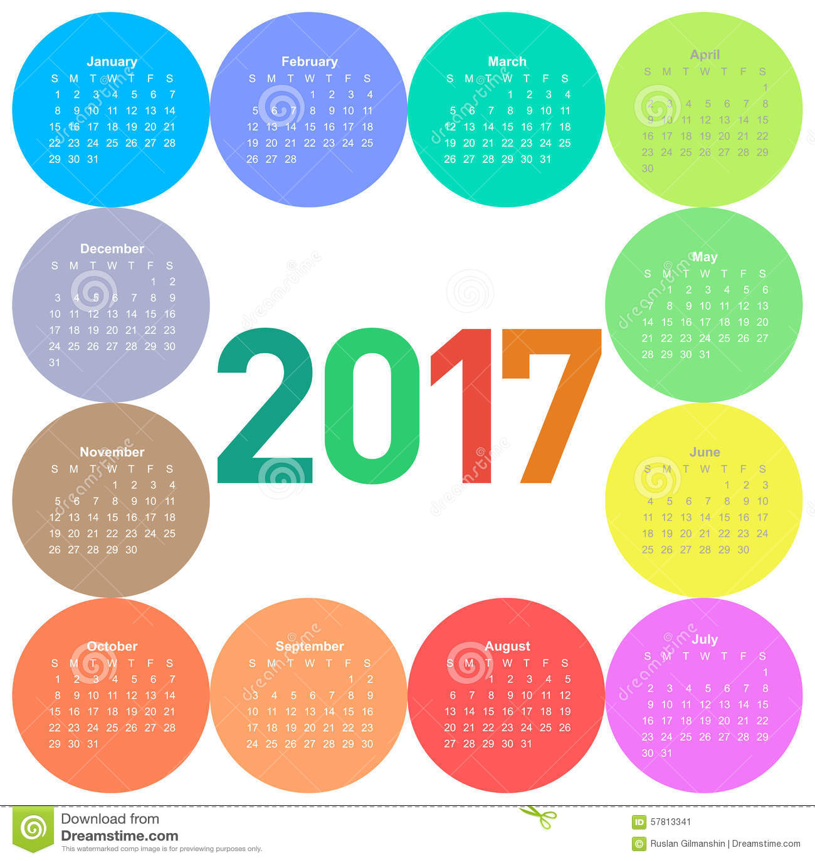 Okręgu kalendarz dla 2017 rok
