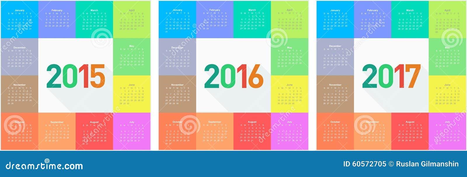 Okręgu kalendarz dla 2015 2016 2017 rok