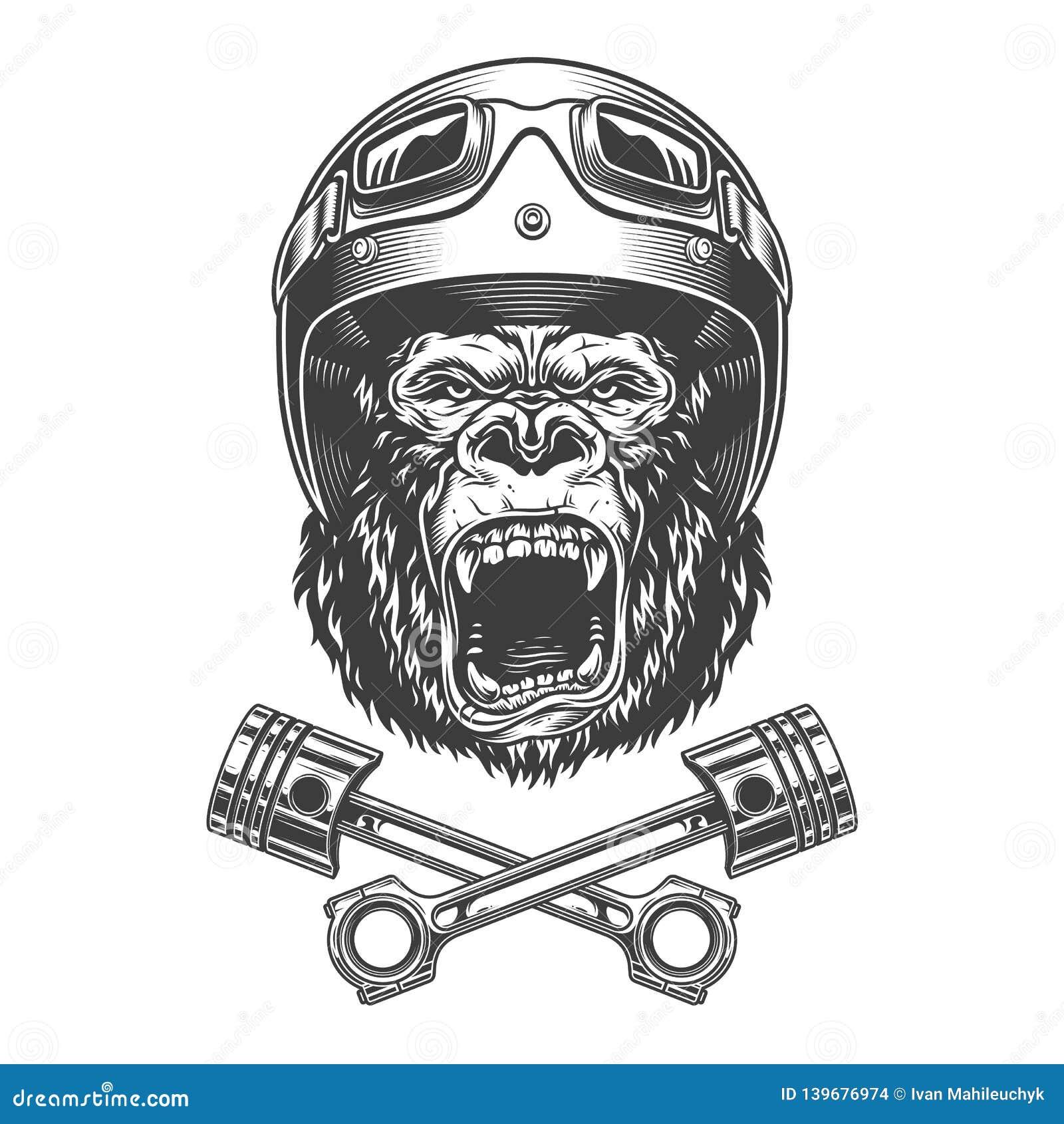 Okrutnie goryl głowa w motocyklu hełmie