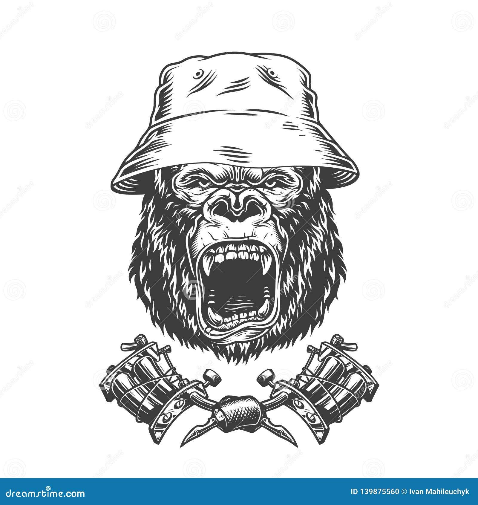 Okrutnie goryl głowa w Panama kapeluszu