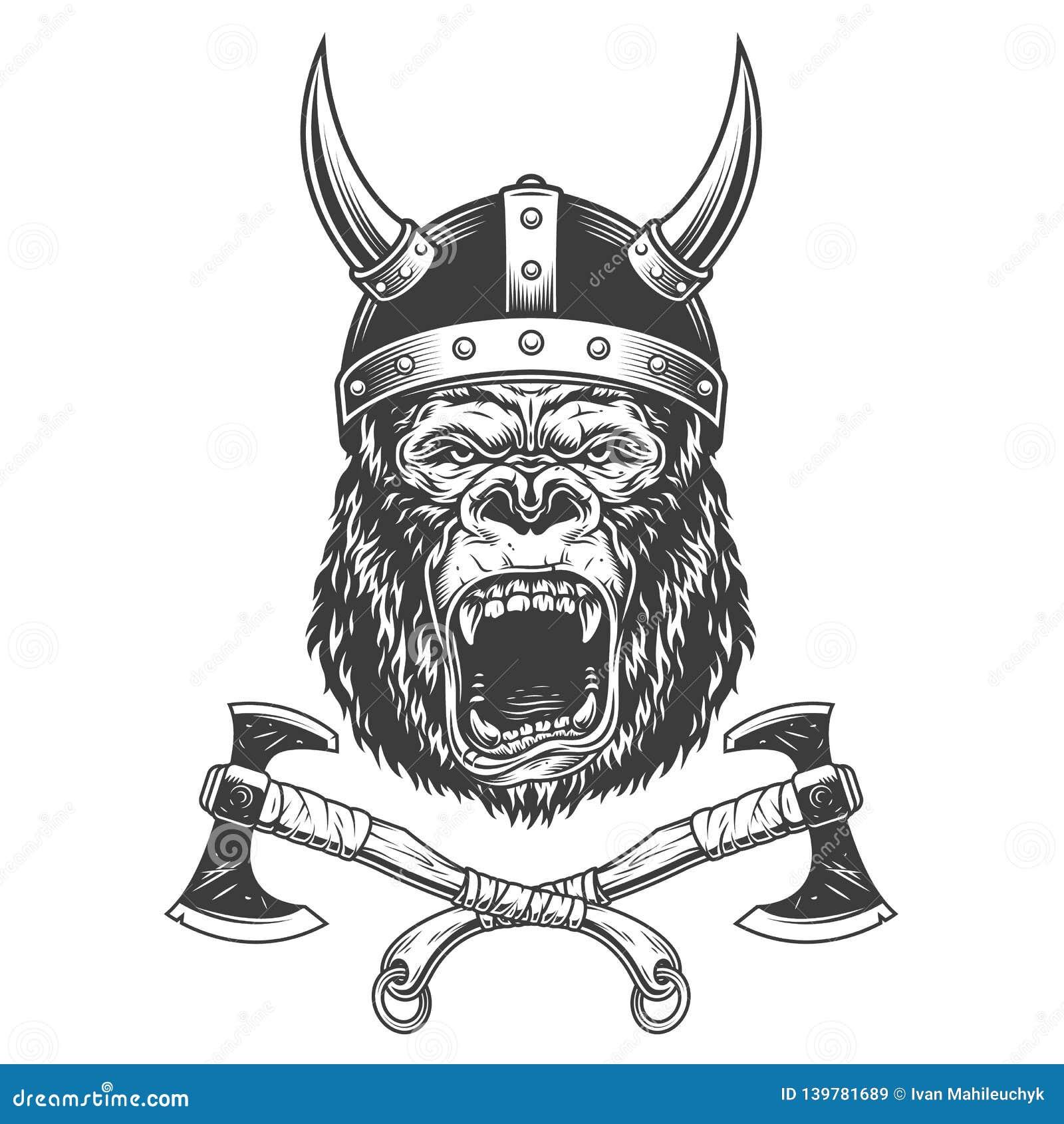 Okrutnie goryl głowa w Viking hełmie