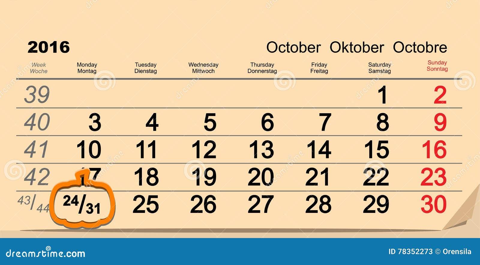 Oktober 31 2016 allhelgonaafton Datum av väggkalendern och pumpa