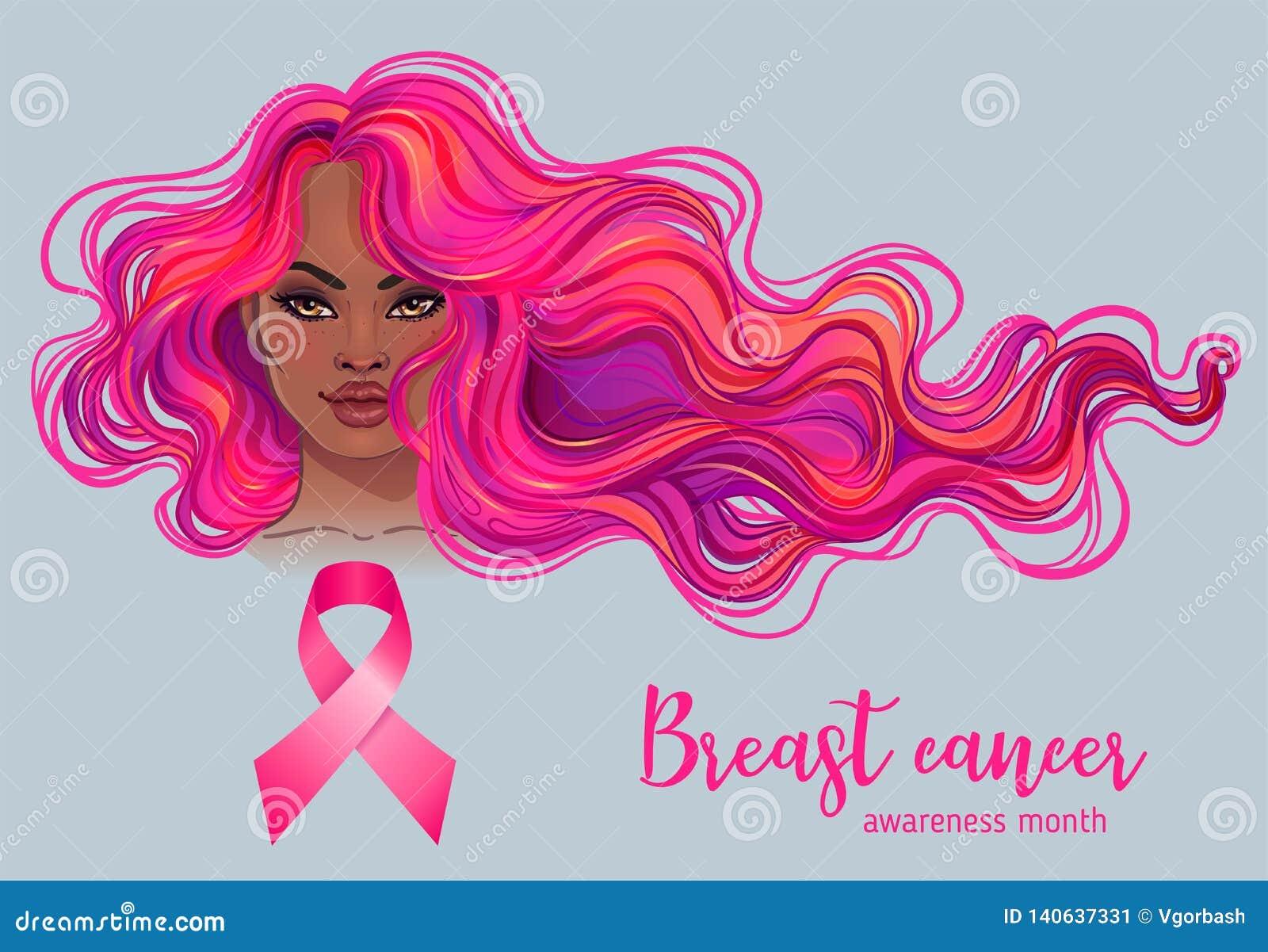 Oktober: Bröstcancermedvetenhetmånad, årlig aktion att öka medvetenhet av sjukdomen Afrikansk amerikankvinna med bröstet