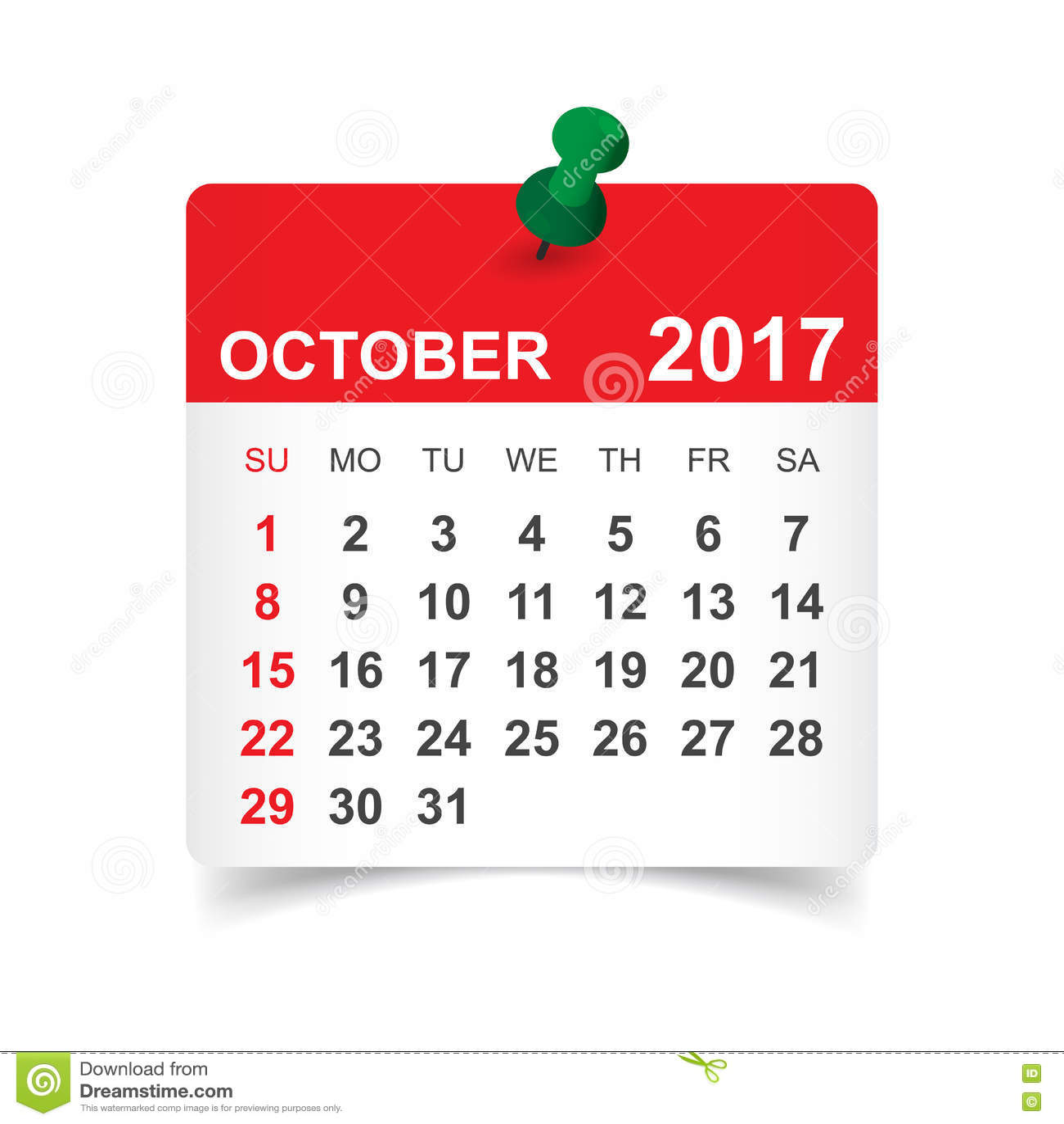 Oktober 2017 kalender