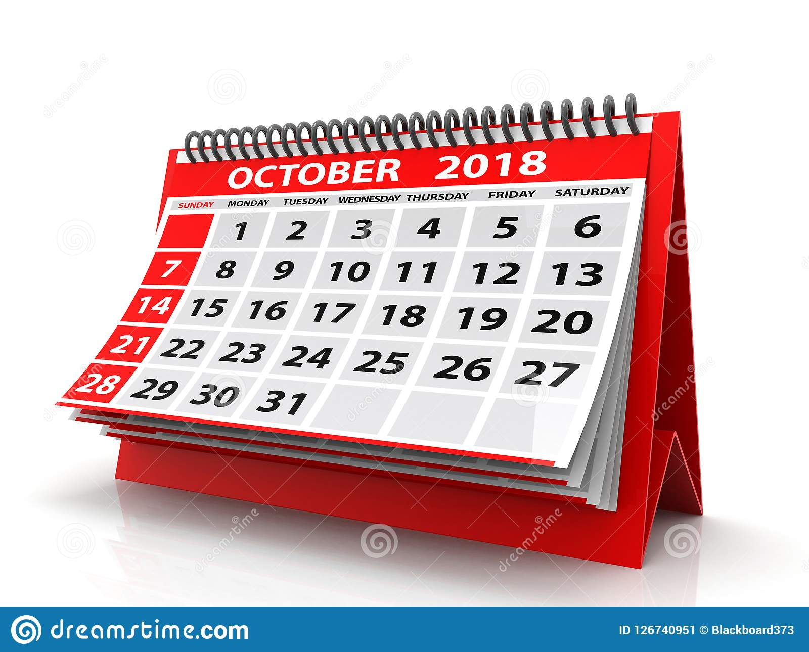Oktober 2018 Kalender Getrennt auf weißem Hintergrund 3d übertragen