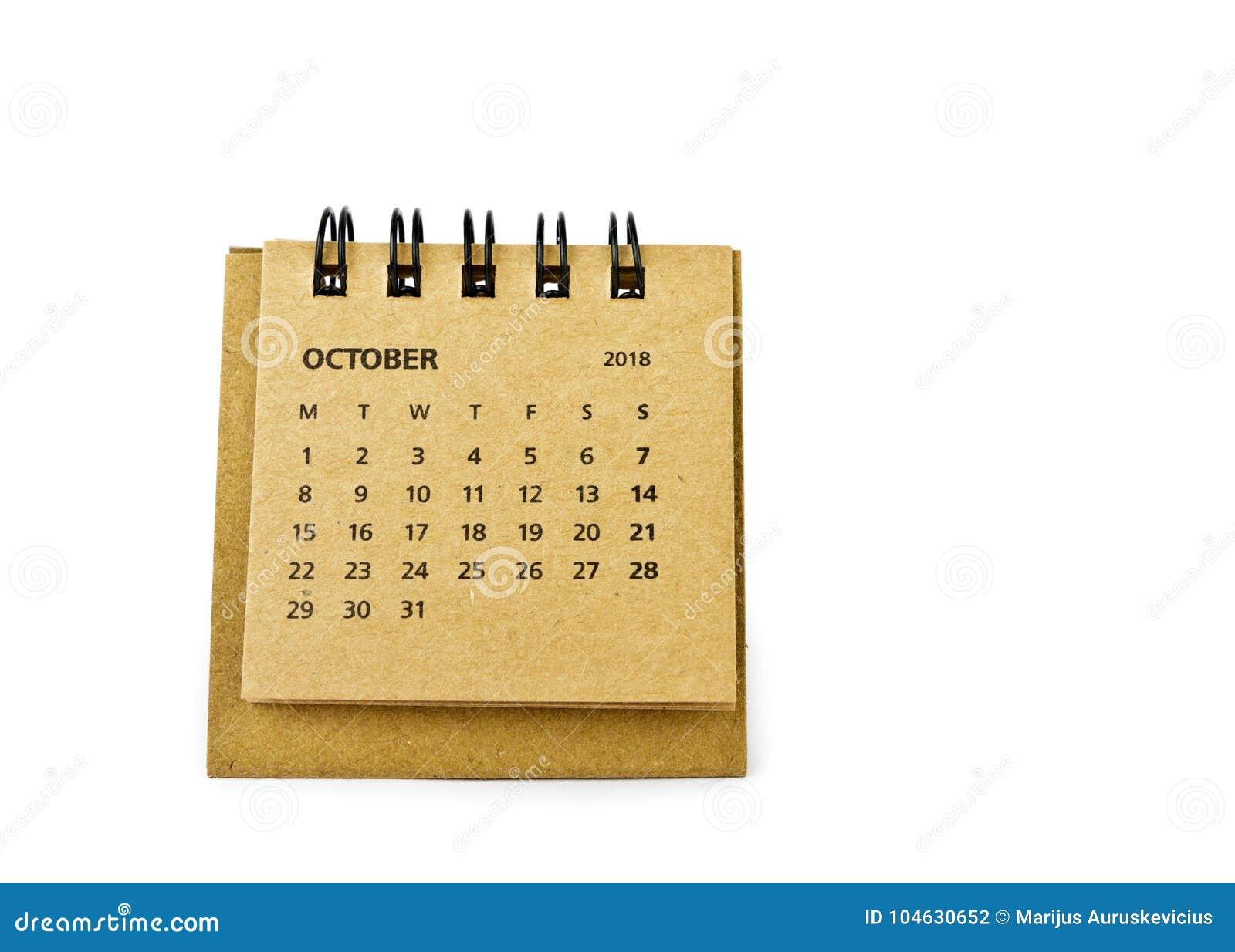 Download Oktober Kalenderblad Op Wit Stock Foto - Afbeelding bestaande uit achttien, ontwerper: 104630652