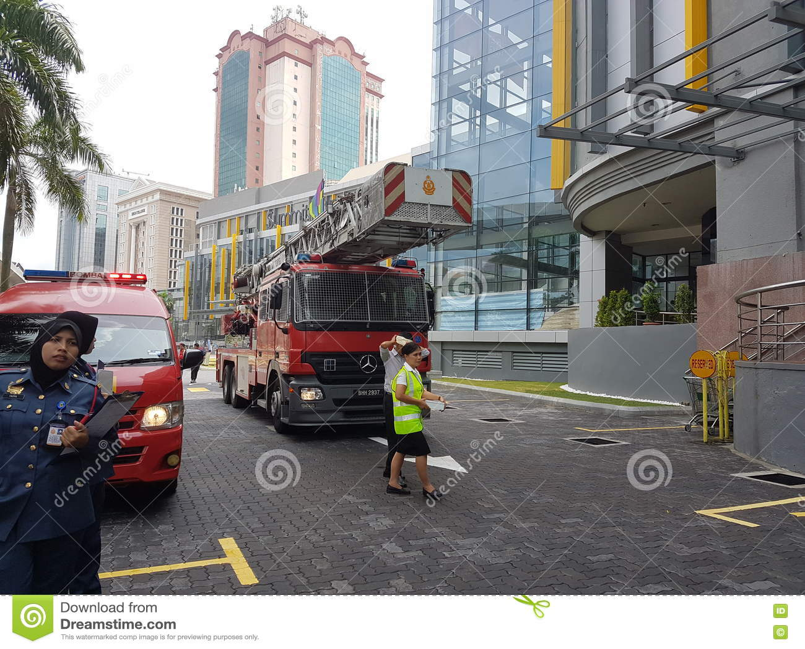 5. Oktober 2016 Subang Jaya, Malaysia Brandschutzübungs-Übung im Gipfel-Hotel Subang USJ war heute morgen erfolgt