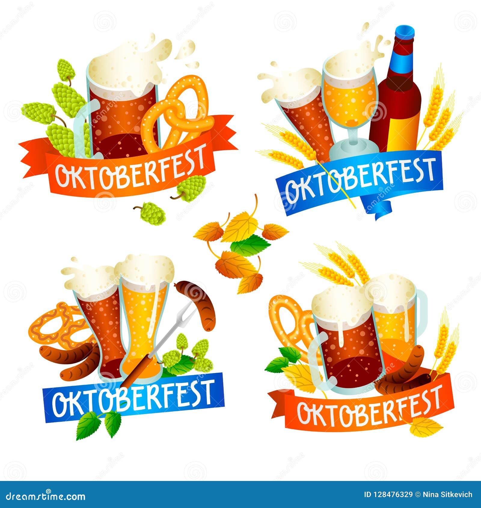 Oktoberfest banner set, isometric style
