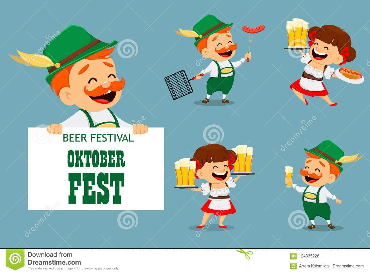 1361d2a3 Oktoberfest, Beer Festival. Funny Man And Woman Stock Vector ...