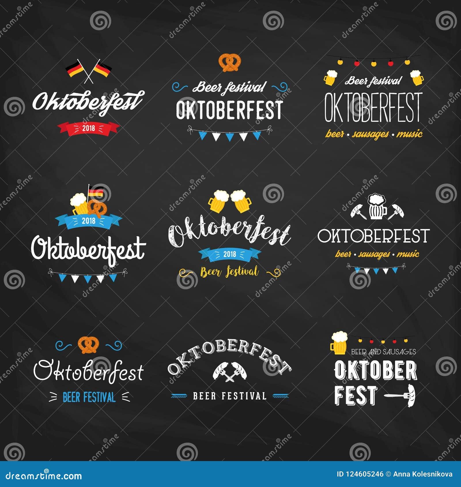 Oktoberfest beer festival lettering typography set celebration retro typographic design templates labels, badges and