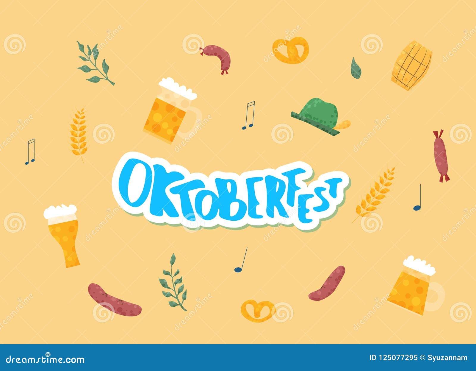 Oktoberfest bokstäversammansättning också vektor för coreldrawillustration