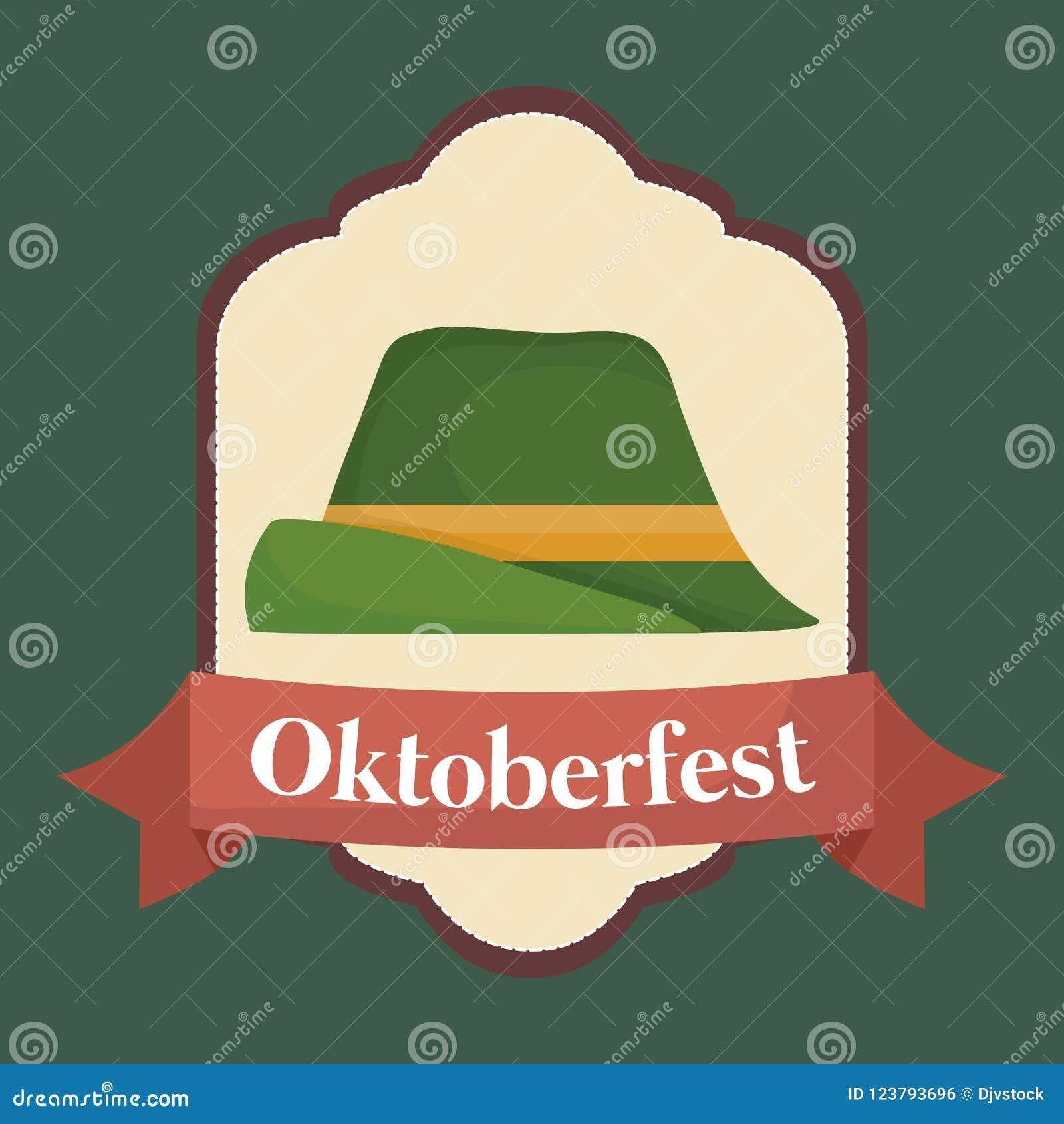 Oktoberfest festival emblem with alpine hat icon over green background 10a3e69b026