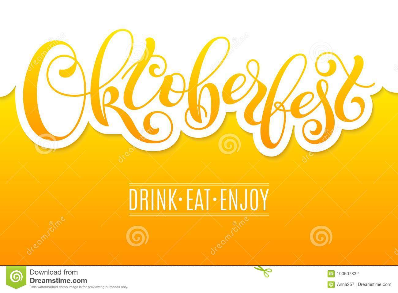 Oktoberfest Lettering On Beer Background Template For A Business