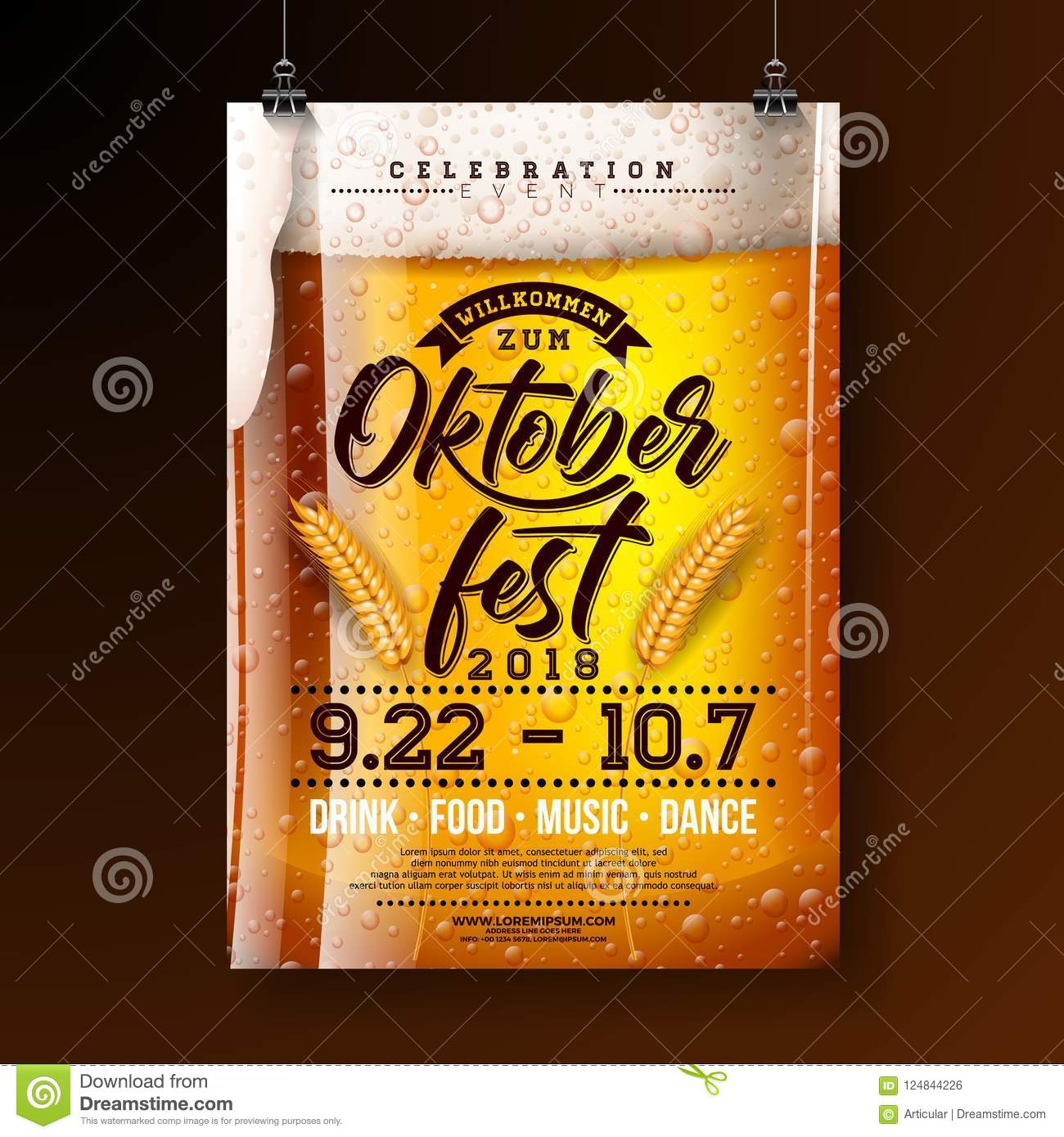 Oktoberfest party poster illustration with fresh lager beer and wheatear on dark background. Vector celebration flyer