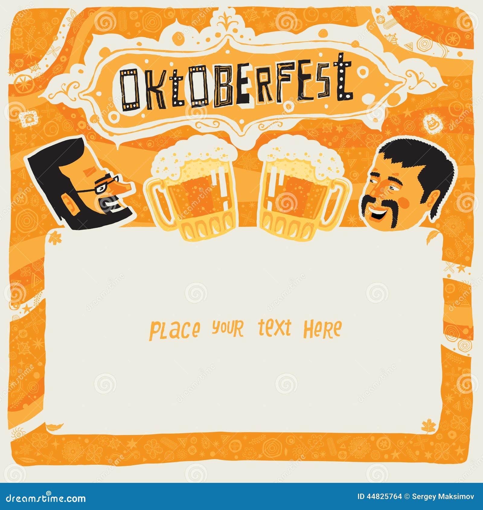 Oktoberfest Postcard Poster Background Ornament Or Party – Oktoberfest Party Invitations