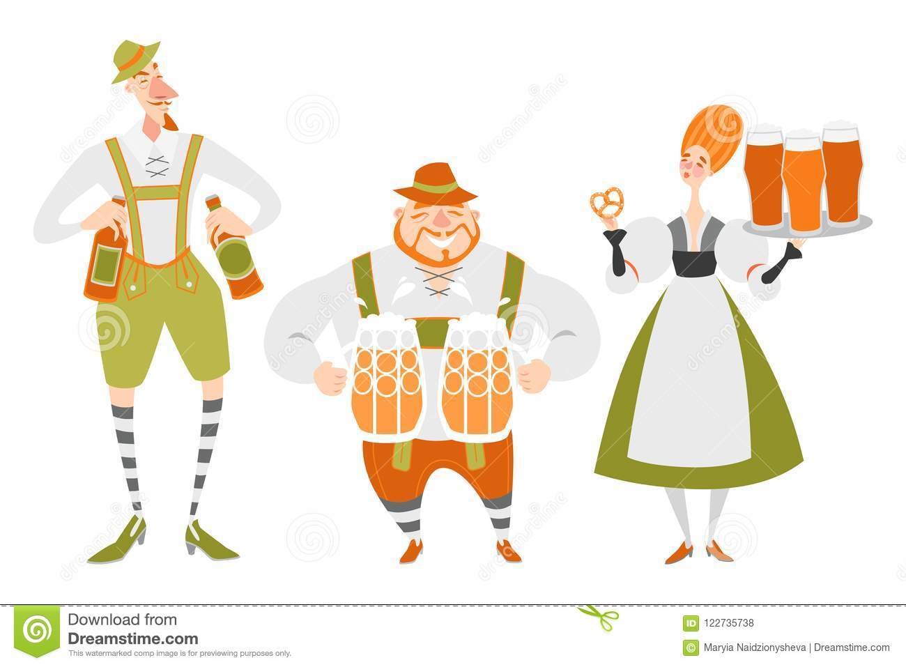 Oktoberfest Set Of Funny Cartoon Characters In Bavarian Costumes People With Beer Stock Vector Illustration Of Festival Male 122735738