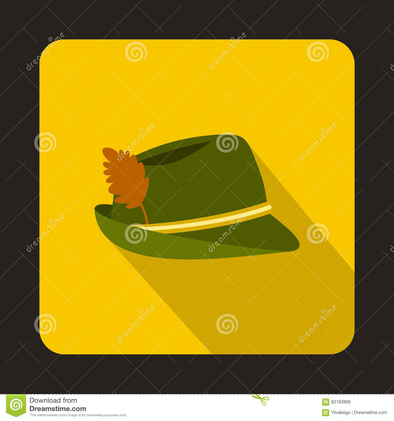 746fe82f572 Oktoberfest tirol hat icon in flat style isolated with long shadow